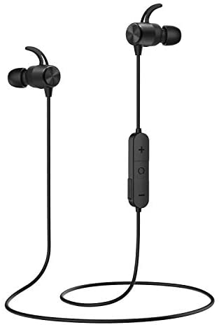 MoKo Magnetic Wireless Earbuds, Bluetooth Headphones, APT-X HiFi Stereo Sports in-Ear Earphones with Mic, IPX5 Waterproof, Secure Fit Noise Cancelling, 7 Hours Playtime for Running, Workout – Black