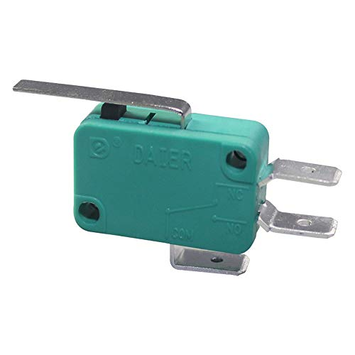 DaierTek 5Pcs SPDT Hinge Lever Type Micro Switch Momentary 3Pin 16A 250VAC 20A 125VAC Green Snap Action Limit Switch