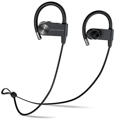 Bluetooth Headphones Sports 5.0 LINPA WORLD Wireless Earbuds Waterproof IPX7 Bluetooth Earphones HiFi Stereo Deep Bass with Microphone 12 Hours Playtime for Workout Running Headset- Black