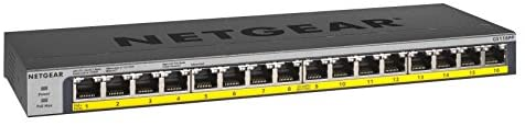 NETGEAR 16-Port Gigabit Ethernet Unmanaged PoE Switch (GS116PP) – with 16 x PoE+ @ 183W, Desktop/Rackmount, and ProSAFE Limited Lifetime Protection