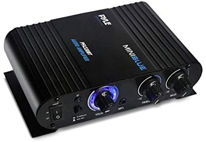Wireless Bluetooth Home Audio Amplifier – 90W Dual Channel Mini Portable Power Stereo Sound Receiver w/ Speaker Selector, RCA, AUX, LED, 12V Adapter – For iPad, iPhone, PA, Studio Use – Pyle PFA330BT