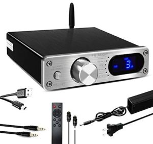 FX AUDIO 2.1 Channel Bluetooth Power Amplifier Home Audio Class D Amplifier with Subwoofer Output TAS5342A Hi-Fi Stereo Mini Small Optical Audio Amp DC 24V 4A Power Supply D502BT (Silver)