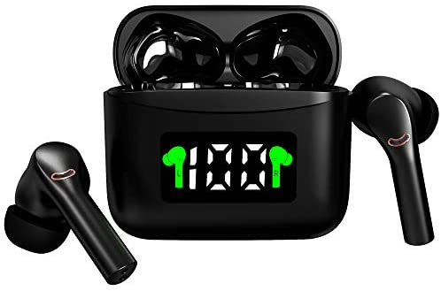 Wireless Earbuds Bluetooth 5.2 Wireless Headset with Led Display Charging Case IPx7 Waterproof 40 Hours Playtime Built-in Mic HiFi Premium Sound Noise Reduction with Deep Base for Sport (Black)