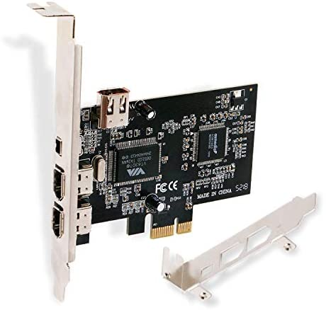 LinksTek PCIE FireWire Card for Windows 98/2000/2003/XP/Vista/7/8/8.1/10/Server Desktop PCs(32/64bit)-IEEE 1394A FireWire 400-6Pin X3 Ports and 4Pin X1 Port-Include Low Profile Bracket(PCIE-1394A)