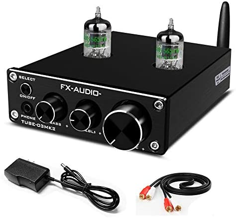 FX-AUDIO Bluetooth 5.0 GE5654 Vacuum Tube Preamp Stereo Receiver HiFi DAC and Headphone Amplifier with Bass&Treble Control for Home Audio(Black)