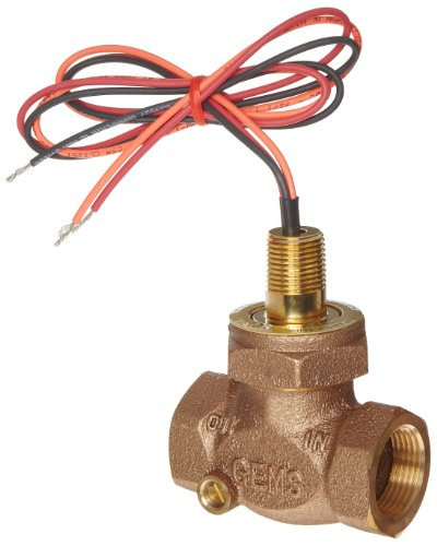 Gems Sensors FS-200 Adjustable Series Bronze Flow Switch, Inline, Shuttle Type, 1.0-6.0 gpm Flow Setting Adjustment Range, 1″ NPT Female