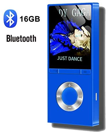 """MP3 Player, Hotechs.16GB MP3 Player with Bluetooth. HiFi Lossless Sound Music.MP3 Music Player with FM Radio Voice Recorder E-Book 1.8""""Screen Pedometer,Support up to 128GB"""