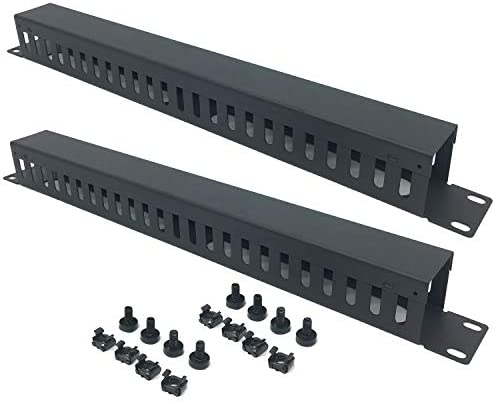 2 Pack 1U 19 Inch Cable Manager Horizontal Rack Mount 24 Slot Metal Finger Duct Wire Organizer with Cover and Mounting Screws for Server Rack, Black(24S2P)