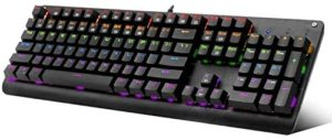 Mechanical Keyboard, E-YOOSO K600 LED Rainbow Backlit Mechanical Gaming Keyboard 104 Key Gamers Keyboard PC Computer USB Wired Gaming Keyboard Brown Switches (Black)
