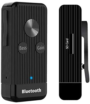 HiFi Headphone Amplifier, Portable 3.5mm Adapter Stereo Audio Out Decoding Bluetooth Receiver with Lithium Battery and Support Gain and Bass for MP3/Phones/Computers