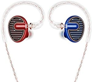 SIMGOT EN700 PRO High Fidelity in-Ear Monitor Headphones with Detachable Cable, Sound Stereo IEM Earphones with Dynamic Balanced Driver, Hifi Earbuds Noise-Isolating Musician Headphones (Red/Blue)