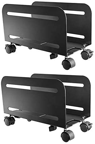 Mount Plus MP-CPB-4 2 Pack Black Computer Tower Desktop ATX-Case, CPU Steel Rolling Stand, Adjustable Mobile Cart Holder with Locking Caster Wheels (2 Pack Cart)
