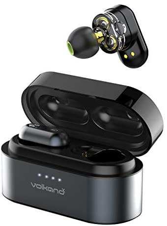 Volkano X Dual Dynamic Drivers Wireless Earbuds TWS in-Ear Bluetooth Headphones with Mic, Charging Case HiFi Stereo Sound Sweatproof – Resonance Unplugged Series