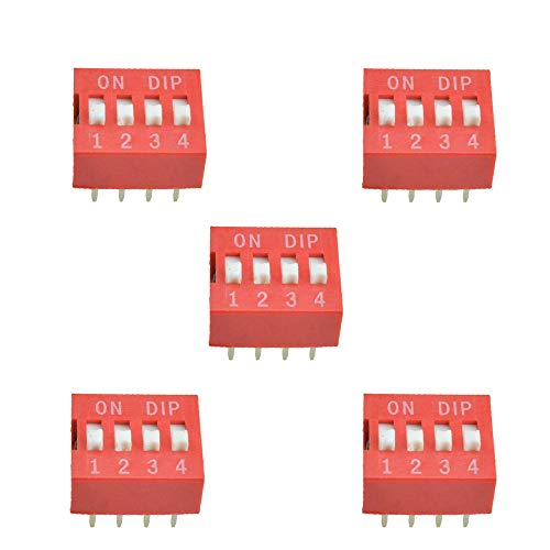 Comidox 20PCS 4-Bit 4 Position Way DIP Slide Type Switch Module 2.54mm Pitch 8 Terminals Red Toggle Switch