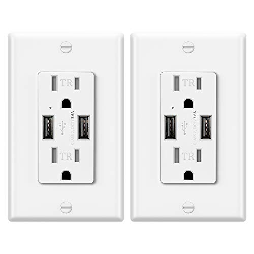 2 Pack – ELECTECK UL 3.6A USB Wall Outlet, 15A Tamper-Resistant Receptacle with Dual Type-A Charging Ports, Stable Wall Charger, White