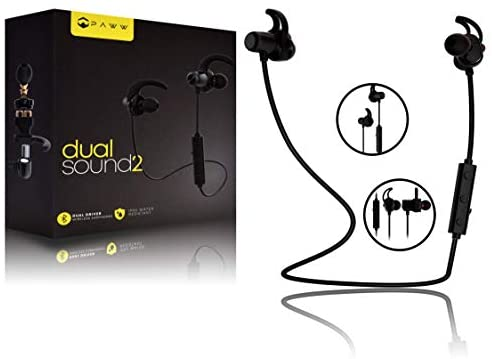 Paww DualSound 2 – Dual Driver – IPX5 Water Resistant – Sweatproof Neck Band – Bluetooth 5.0 in-Ear Earbuds – Rich Bass HiFi Stereo Sound – Sports Running & Workout with AptX LL