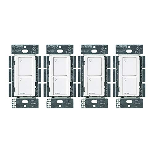 Lutron PD-6ANS-WH Caseta Wireless Smart Lighting Switch for All Bulb Types and Fans (White, 4 Pack)