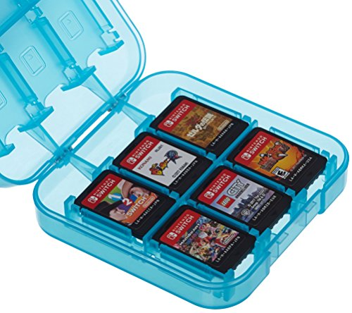 AmazonBasics Game Storage Case for 24 Nintendo Switch Games – 3.4 x 3.4 x 1 Inches, Blue