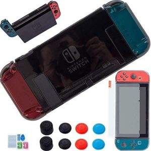 3 in 1 Nintendo Switch Cover Case – [Newest Version] YOOWA Dockable Clear Protective Case for Nintendo Switch with Screen Protector and 8 Thumb Grips Caps – Black