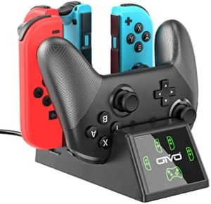 Switch Controller Charger Dock Station Compatible with Nintendo Switch Joycon&Pro Controller, OIVO Upgraded 5-in-1 Switch Remote Controller Charger for Nintendo Switch – 2.8FT Type C Cable Included