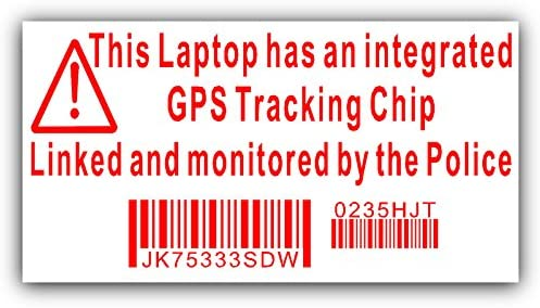 4 x Laptop Computer Security Stickers (Fake to Deter Theft)
