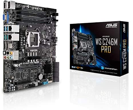 ASUS LGA1151 ECC DDR4 M.2 C246 Server Workstation Micro ATX Motherboard for 8th Generation Intel Core Motherboards WS C246M PRO