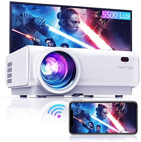 TOPTRO WiFi Projector,5500 Lumens Bluetooth Projector,Support 1080P Home Video Projector,200″ Display,HiFi Speaker Compatible with TV Stick/Phone/Laptop/PS4/SD/USB/VGA/HDMI