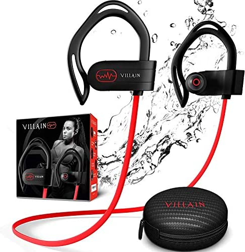 【Newest 2020】 Villain Bluetooth Headphones for Running Gym Workout – Wireless Sport Earbuds with aptX HiFi Sound & Clear Thumping Bass – Best IPX7 Waterproof Earphones with Microphone