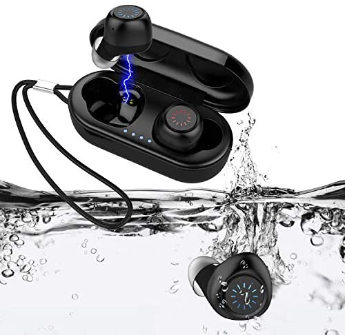 Wireless Earbuds Bluetooth 5.0 HIFEER Q65 Waterproof IPX7 Headphones with Microphone HiFi Stereo Sound Noise Canceling Easy Pairing for Sport Running Gym