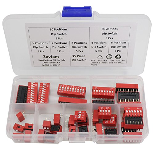 Double Row Dip Switch Assorted Kit Box Range 1 2 3 4 6 8 10 Position 2.54mm PCB Mountable On Off Dip DIL Switch,Slide Type Red Toggle Switch for Circuit Breadboards and Arduino 35Pcs