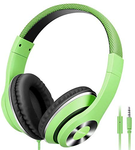 AUSDOM Lightweight Over-Ear Wired HiFi Stereo Headphones with Built-in Mic Comfortable Leather Earphones Noise Isolating Adjustable Deep Bass for iPhone iPod iPad Macbook MP3 Smartphones Laptop- Green