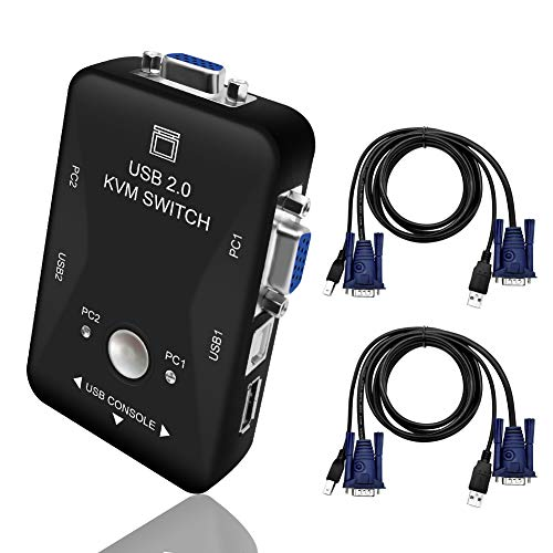 KVM Switch, USB Sharing Switch Selector, 2 Computers Sharing 4 USB Devices, 2 in 1 Out 2 Port Manual Peripheral Switcher Box Hub for PC, Monitor, Printer, Keyboard, Mouse Control with 2 VGA USB Cables