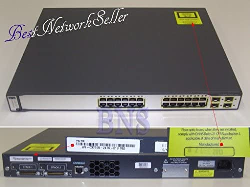 Cisco Catalyst 3750 – Netzwerk Switch (12000 Eintragungen, 1 Gbit/s, Ethernet, Fast Ethernet, Gigabit Ethernet, 128 MB, 190 W, 0 – 45 °C)