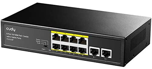 Cudy FS1010P 8+2-Port 100Mbit/s PoE+ Unmanaged Plug-and-Play Switch, 120 W, 8 * 10/100 Mbit/s PoE+ Ports, CCTV/VLAN-Modus, 802.3af/ 802.3at