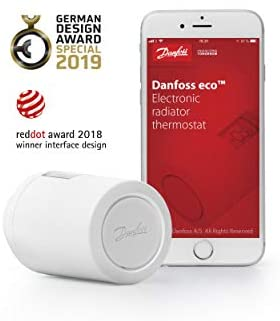 Danfoss 014G1101 Eco Home Electronic Radiator Thermostat with Bluetooth Function; Electronic, programmable thermostat as a stand-alone controller for single rooms, (for Germany).