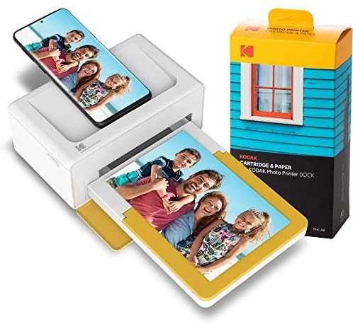 KODAK PD460 Dock Plus & Bluetooth +90 Fotos, tragbarer Mini Fotodrucker 10×15, mobiler Drucker für Smartphone (iPhone und Android), Sofortbilder in Premium-Qualität unterwegs mit dem Handy drucken