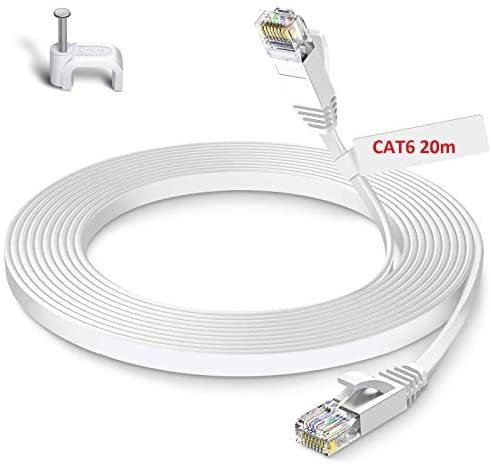 GLCON Cat6 Netzwerkkabel 20m High Speed Ethernet Kabel 250 MHz 1000Mbit/s Flach LAN Kabel Kompatibel mit Switch/Router/Modem/Patch-Panel Weiß