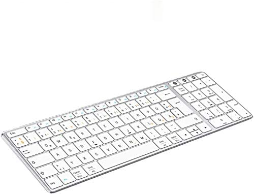 Jelly Comb Dual Bluetooth + 2.4G Funktastatur, Ultraslim Kabellose QWERTZ Tastatur Wiederaufladbar für PC/Laptop/MacBook/iMac/Tablet/Smart TV mit Windows/MacOS/iOS/Android, Weiß und Silber