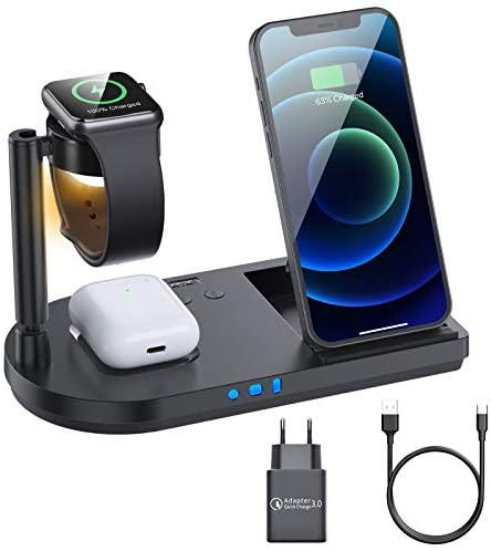 Kabelloses Ladegerät, 15W Fast Wireless Charger, 4 in 1 Induktive ladestation für Apple Watch 5/4/3/2/1, iPhone 12/SE/11/X/XR/Xs Max/8, Airpods Pro/2, Samsung Galaxy S20/S10 (Mit 18W QC 3.0 Adapter)